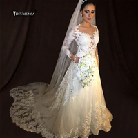 Robe De Mariee Vintage White A line Wedding Dresses Long Sleeve Wedding Gowns Beading Sheer Nude tulle Bride Dress 2018 gelinlik