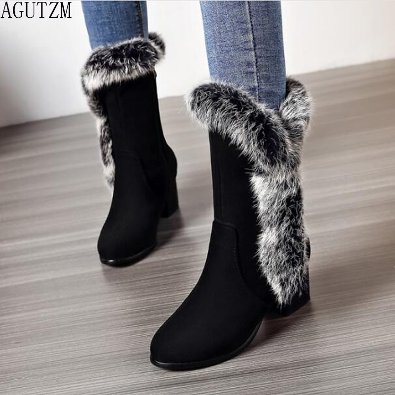 High Quality Shoes Woman Warm Mid Calf Boots Warm Ladies Snow Boots Woman Plush Insole Winter Boots botas ug australia mujer 423 dagnino women original high quality brand genuine leather australia classic high unisex warm winter snow boots woman botas mujer
