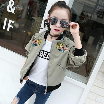 Jacket For Girls Fashion Army Green Embroidery Flower And Bee Coat Children 2017 Beautiful Bomber Jacket Kids Pretty Girls Coat 2
