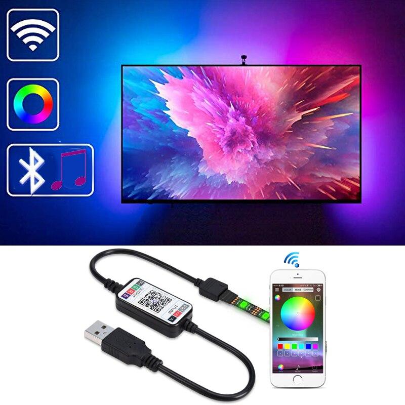 HKZZI Bluetooth LEVOU Luz de Tira SMD 5050 RGB Colorido DC5V 1M-2M-3M de Sincronização de Música À Prova D' Água TV Fundo Iluminação USB Tira CONDUZIDA