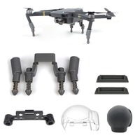 5 in 1 Accessories Kits Landing Gear Leg Height Extender Gimbal Cover Silicone Lens Cover Battery