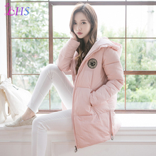 New 2016 Women Winter Coat Wadded Jacket Medium-long Size M-2XL Long Sleeves Parka Collar Hooded Thickening Female Snow Wear
