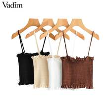 Vadim sexy solide camis tank top verstellbaren riemen sleeveless backless kurze stil hemd weibliche casual chic bluse WA329(China)