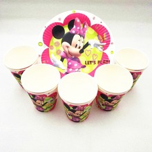 20p/set Minnie Mouse Birthday Party Supplies Plates Cups Disposable Tableware Favors Decoration Cake Dishes