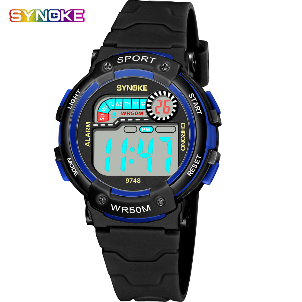 SYNOKE Children Watch Boys Girls LED Digital Sports Watches Silicone Rubber Clock Kids Watch Smart 5bar Electronic Wristwatch