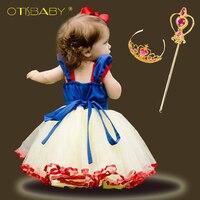 Summer Girls Snow White Princess Dresses Kids Short Sleeve Mesh Dress Fancy Girl Carnival Christmas Birthday