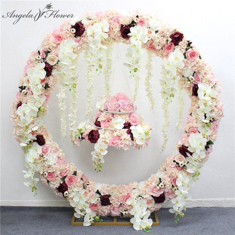 1m/2m artificial orchid flower row runner decor party wedding backdrop iron arch stand road lead wisteria rose peony orchid row-in Fleurs séchées et artificielles from Maison & Animalerie    1