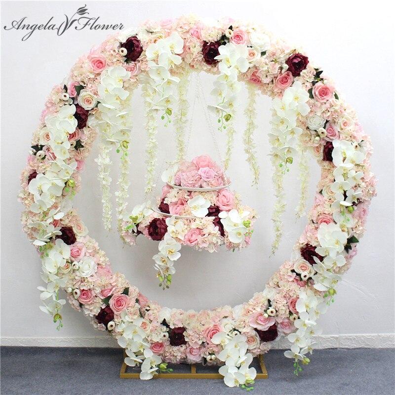 1m/2m sztuczny kwiat orchidei wiersz runner decor wesele tło żelaza podstawa łuku drogowego ołowiu wisteria rose piwonia orchid wiersz