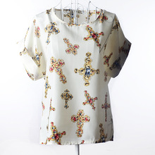 2017 new Large size women printing blouse bird bat shirt short-sleeved chiffon blusas femininas roupas summer style