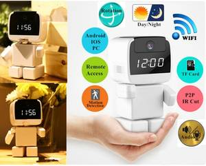 Wireless Robot IP Camera Wi-fi Clock Camera Network robot