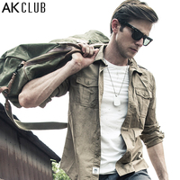 Free Shipping Ak Men S Clothing Spring Vintage 100 Male Cotton Long Sleeve Shirt 1502064