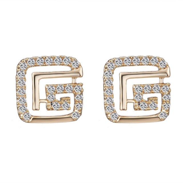 stud shaped yellow square gold earrings genuine diamond shape ear dome earring