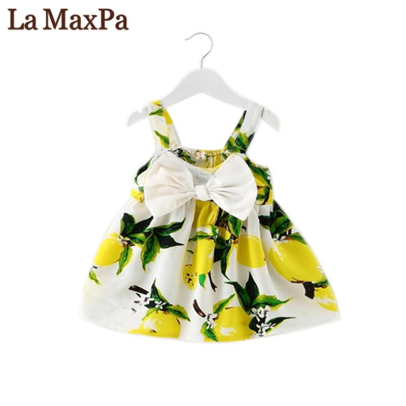 La MaxPa 2018Summer Baby Girl Dress Lemon Print Bow Sleeveless Cotton Children Dresses Party Kids Princess Dress 9-24 Months