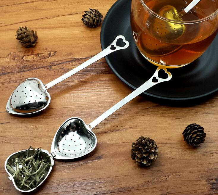 100pcs Stainless steel Heart-Shaped Heart Shape Tea Infuser Strainer Filter Spoon Spoons Wedding Party Gift Favor