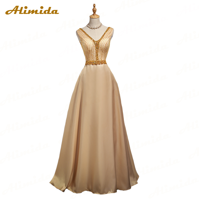 ALIMIDA   Evening     Dress   Long 2018 New Beaded Elegant Formal Party   Dress   A-Line Crystal Special Occasion   Dresses   robe de soiree