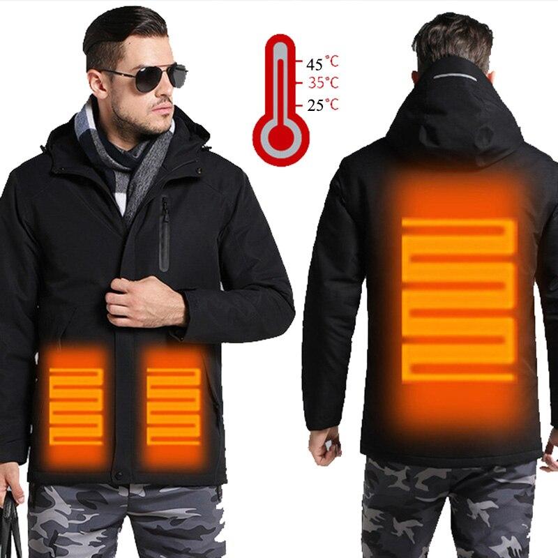 Hommes femmes hiver USB chauffage veste hommes imperméable réfléchissant manteau à capuche mâle chaud Parka coton coupe-vent hommes veste JK138