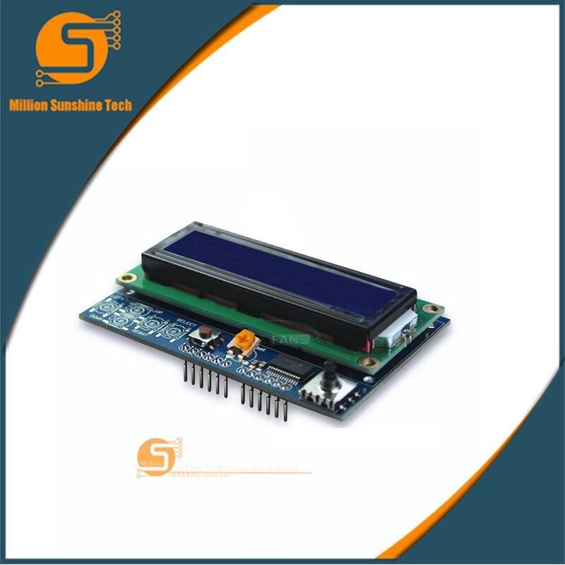 1602LCD 1602 LCD Shiled IIC I2C MCP23017 5 Keypad 16x2 Character Brightness Adjustable LCD Display Module For Arduino UNO