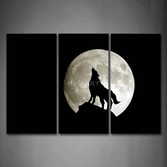 3 Piece Black And White Wall Art Painting Wolf Howl Under The Moon Picture Print On