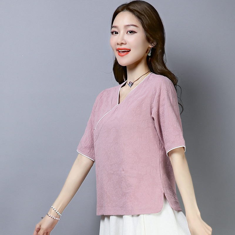 2019 Chinese Style Retro Tops Hanfu Top Tang Suit Top Hanfu Half Sleeve Chinese Blouse Traditional Chinese Clothing For Women