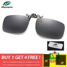 Men's Polarized Metal Clip On Sunglasses Women Square Frame