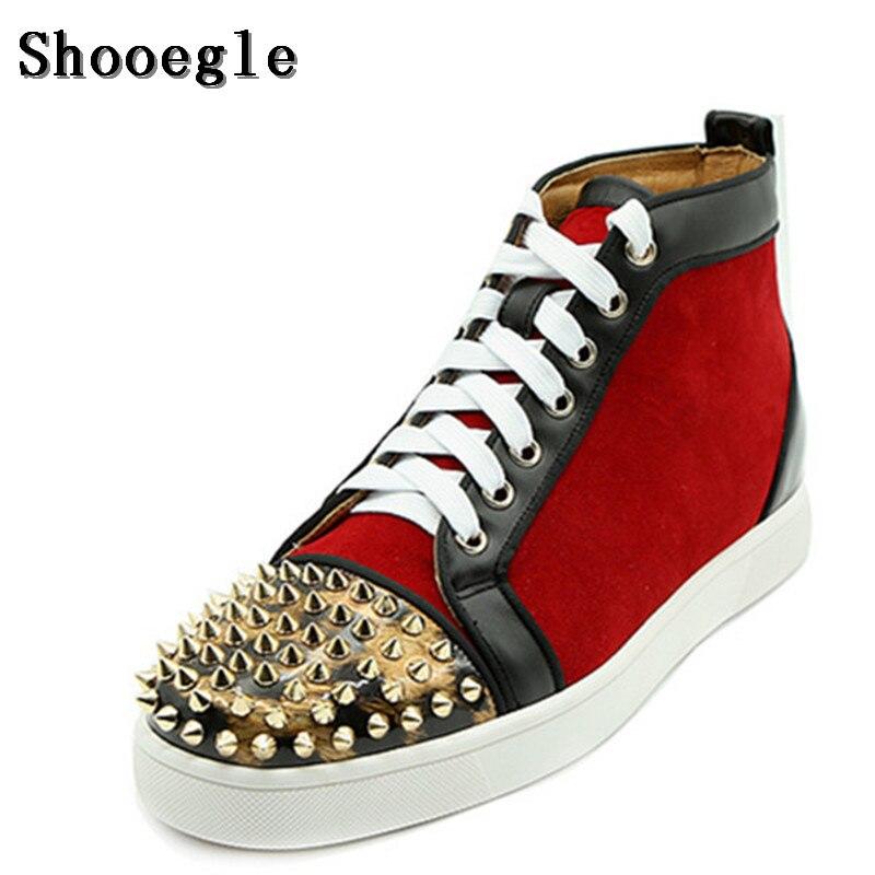 Boots De up 2018 Casuais Pregos assorted Livre Shooegle Ar Ao Patchwork Ankle Preto Novo Homem Colors Tênis Plana Preto Hightop Sapatos Lace Rebites Homens other p0wPw6qRd