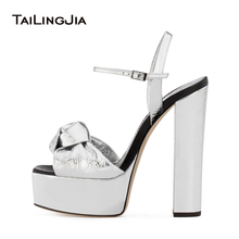 ФОТО sliver patent leather platforms for women knotted high heel sandals sexy dress heels ladies block heel summer shoes big size