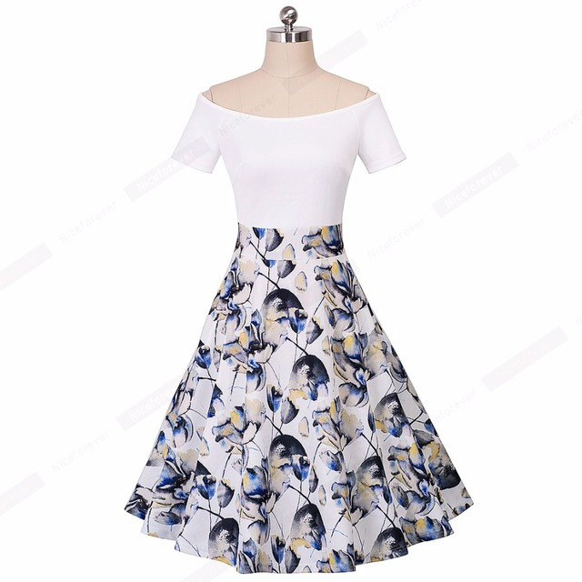 Summer Ladylike Patchwork Red Dots Vintage Slash Neck Womens Chic Gorgeous Ball Gown Off shoulder Casual Vintage Dress A015