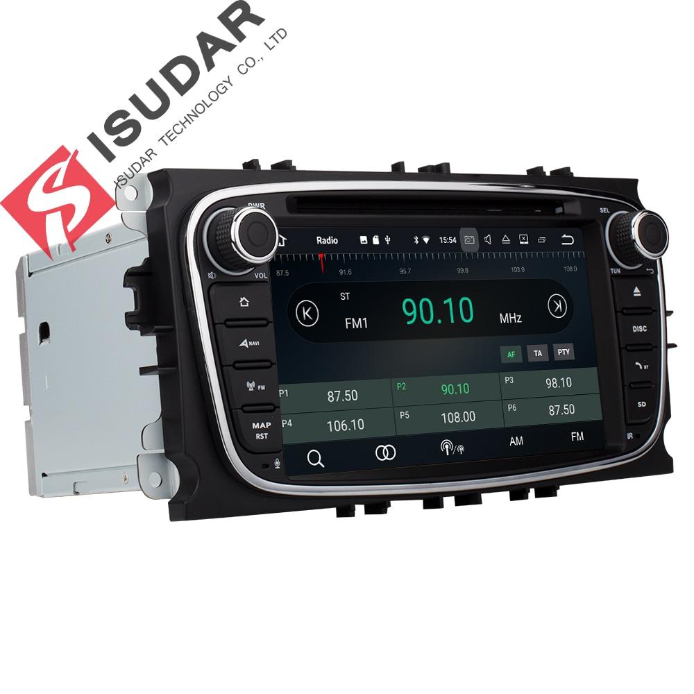 Isudar Voiture lecteur multimédia Android 8.0 GPS Autoradio 2 Din Pour FORD/Focus/Mondeo/S-MAX/C-MAX/ galaxy RAM 4 GB 32 GB Radio DSP - 3
