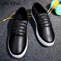 LIN KING Men Flat Shoes Round Toe Massage Height Increasing Lace-up PU Walking Ankle Short Shoes Leisure Thick Sole Shoes Male