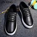 LIN REY Hombres Zapatos Planos de Punta Redonda Masaje Aumento de la Altura con cordones de LA PU Caminar Tobillo Short Zapatos de Ocio Zapatos de Suela Gruesa masculino