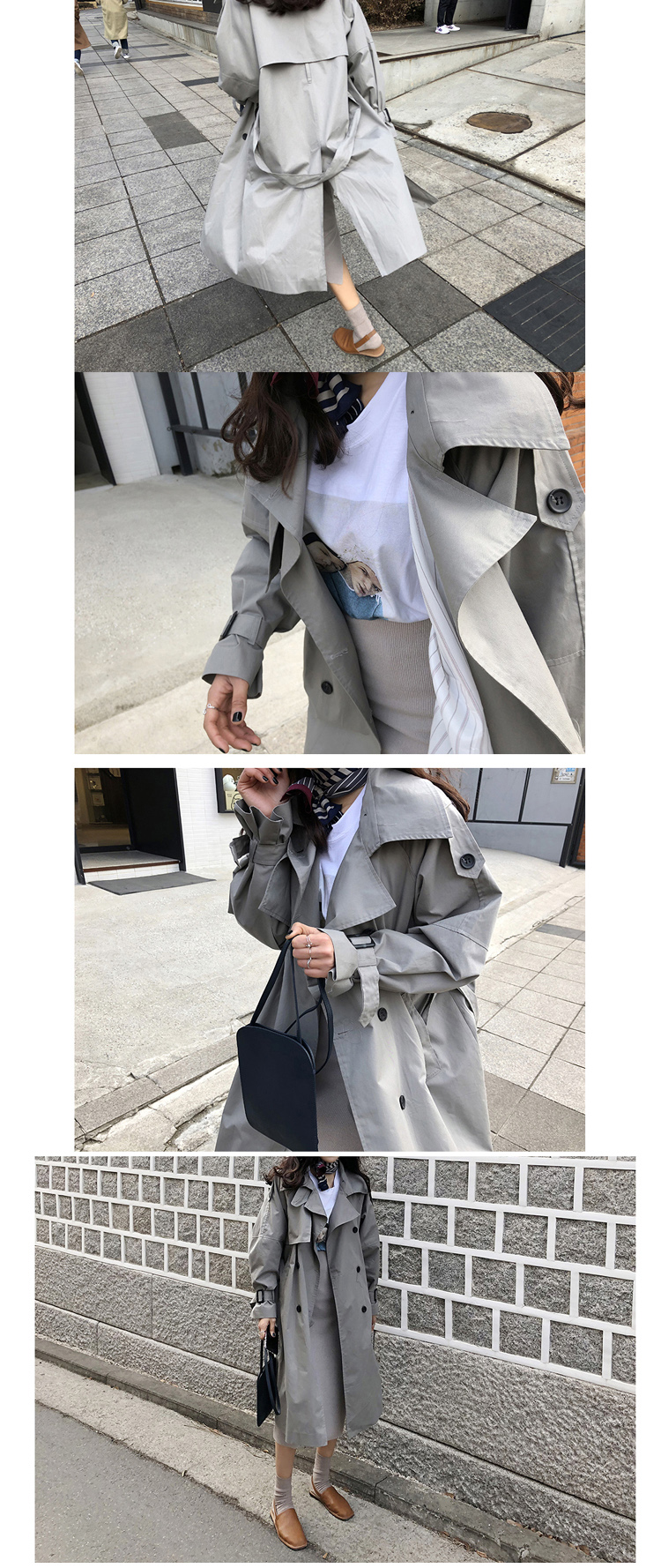 Russian autumn winter casual loose trench coat with sashes oversize Double Breasted Vintage overcoats windbreaker outwear 8