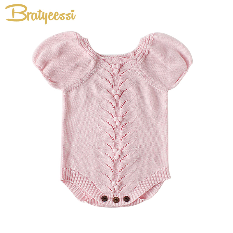Vintage Baby Romper for Girls Puff Sleeves Knitted Children Jumpsuit Baby Girl Rompers Spring Autumn Toddler Baby Onesie