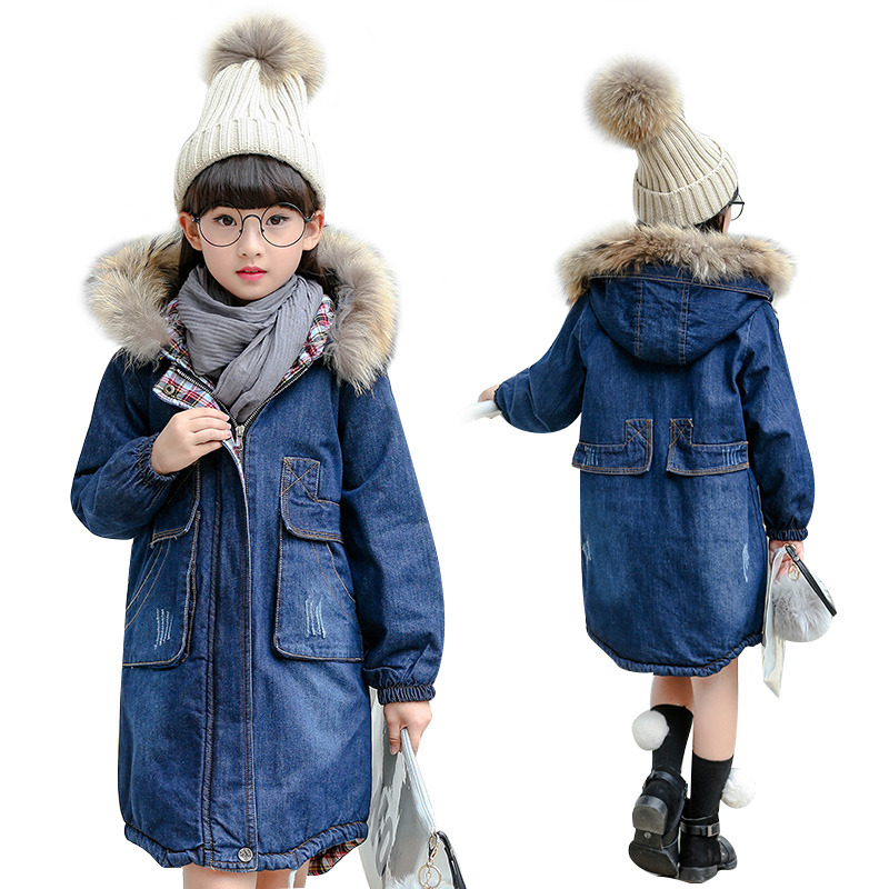 Trendy Big Teens Girls Denim Outerwear Children Winter Hooded Coats Kids Warm Inner Jeans Jacket Girls Thick Long Clothes winter baby girl coats kids warm long thick hooded jacket for girls 2017 casual toddler girls clothes children outerwear