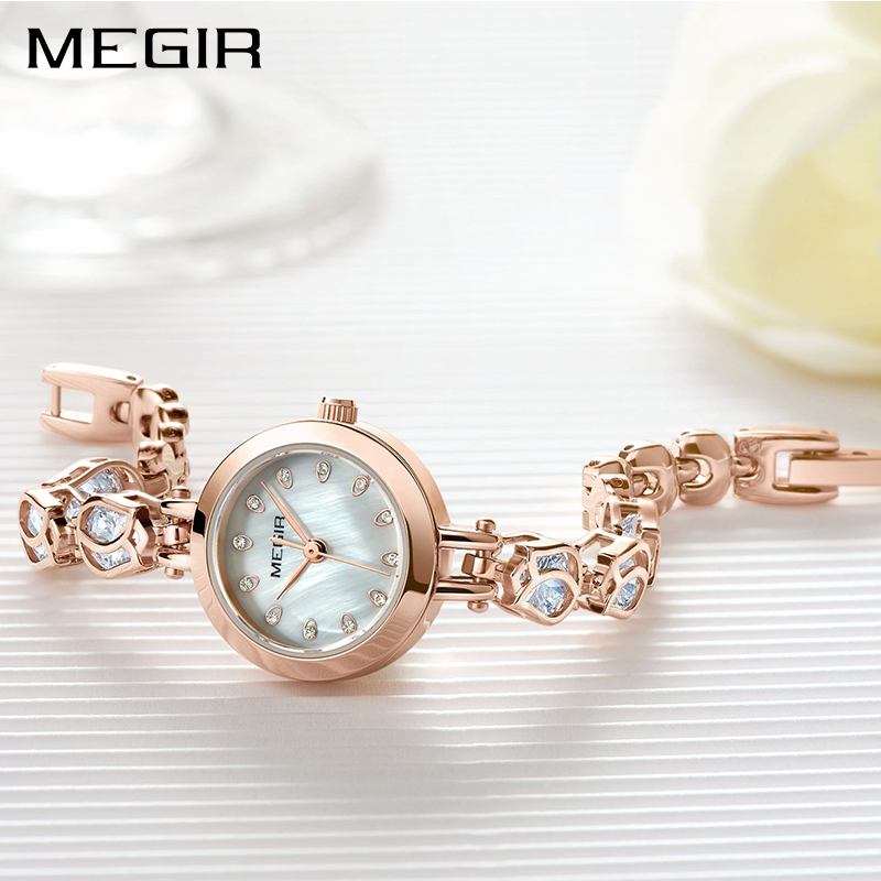 MEGIR Luxury Women Bracelet Watches Relogio Feminino Top Brand Rose Gold Fashion Dress Ladies Lovers Wrist Watch Clock Women zivok fashion brand women watches luxury red lovers bracelet wrist watch clock women relogio feminino ladies quartz wristwatch