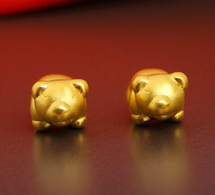 1PCS Best 999 24K Yellow gold Bear Knitting Bracelet 0.76g