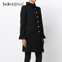 TWOTWINSTYLE Ruffles Mini Dress Female Flare Sleeve Single Breasted Black Slim Dresses 2018 Spring Plus Size