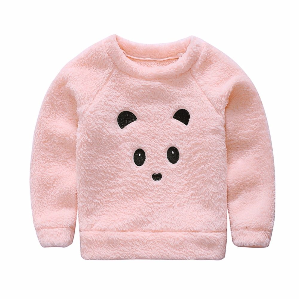 Winter Pink Furry Little Bear Tops For Baby Girl Kids -7675