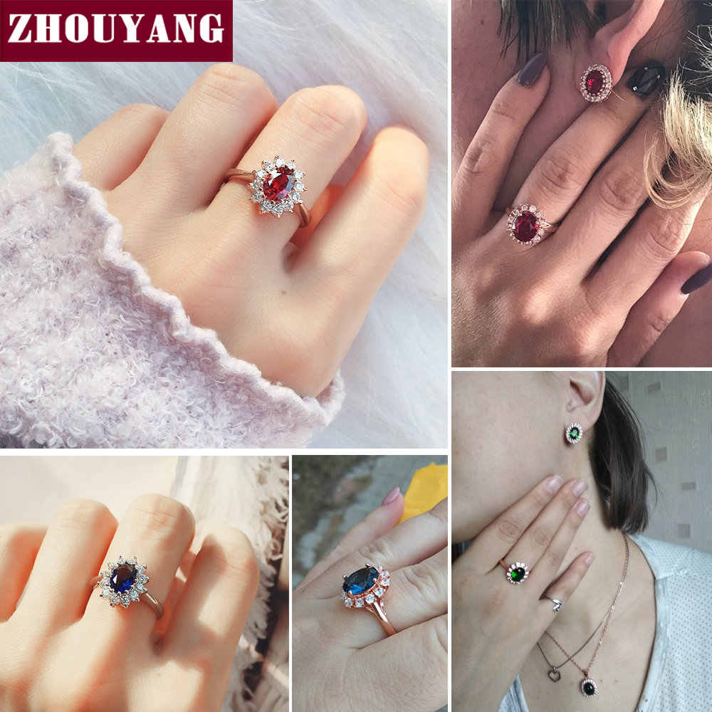 ZHOUYANG Ring For Women Red Crystal Elegant Engagement Wedding Ring Rose Gold Color Austrian Crystals Fashion Jewelry ZYR187
