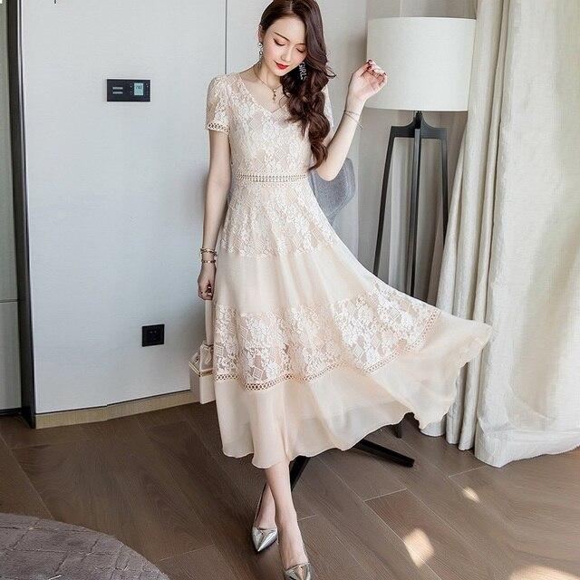 a4a5b8331 Nova Verão 2018 Das Senhoras bonito vestido longo de chiffon V pescoço  partido elegante vestido de