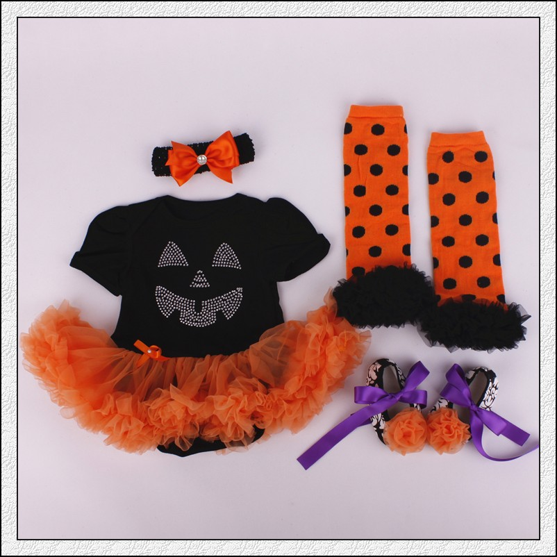 4PCs per Set Infant Lace Romper Halloween Costume Baby Girls Tutu Dress Headband Shoes Leggings for. US $15.29 & Baby Rompers 3PCs Infant Clothing Set Baby Girls Orange Halloween ...