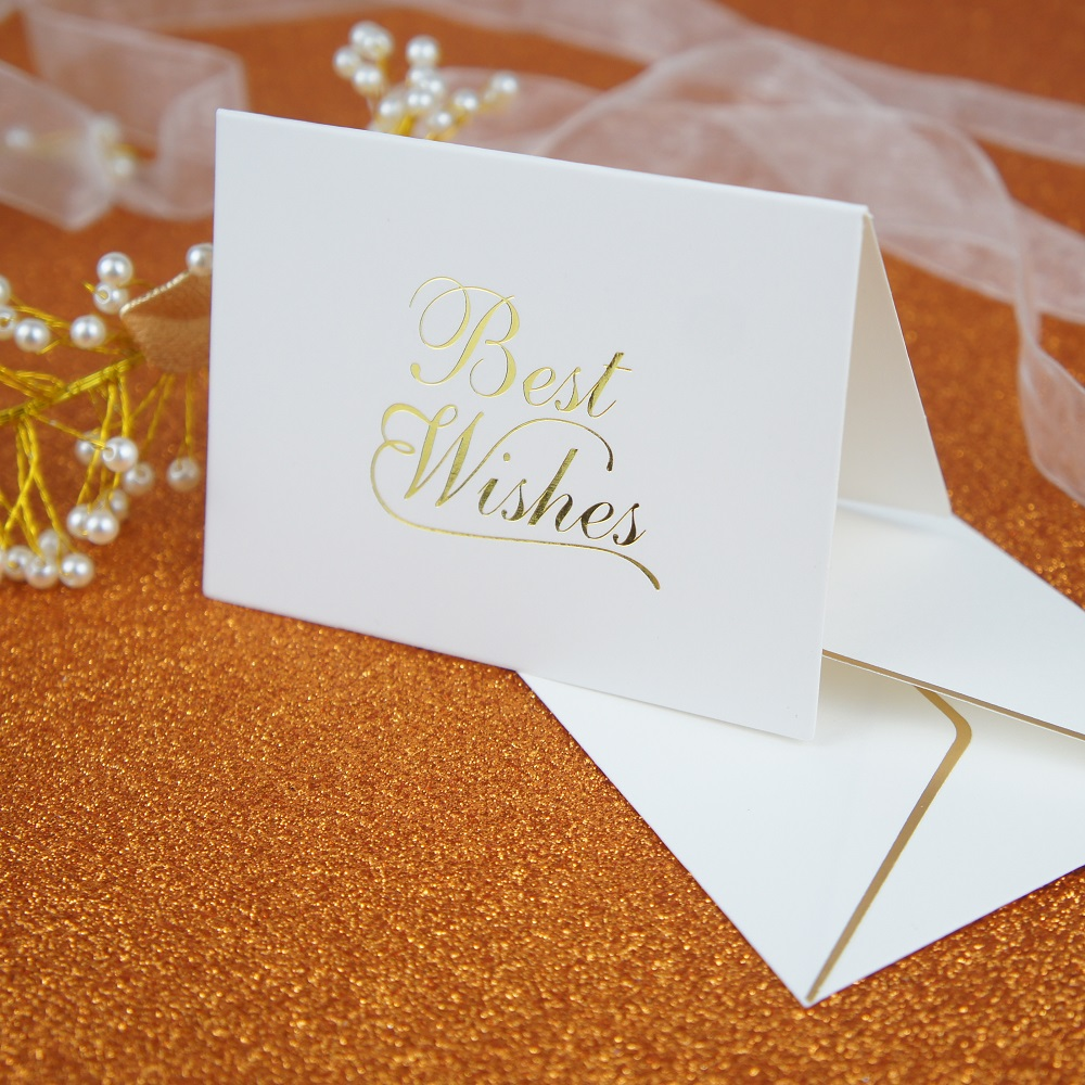 25set Gold Best Wishes Fold Card Fashion Design Thanks Giving Day
