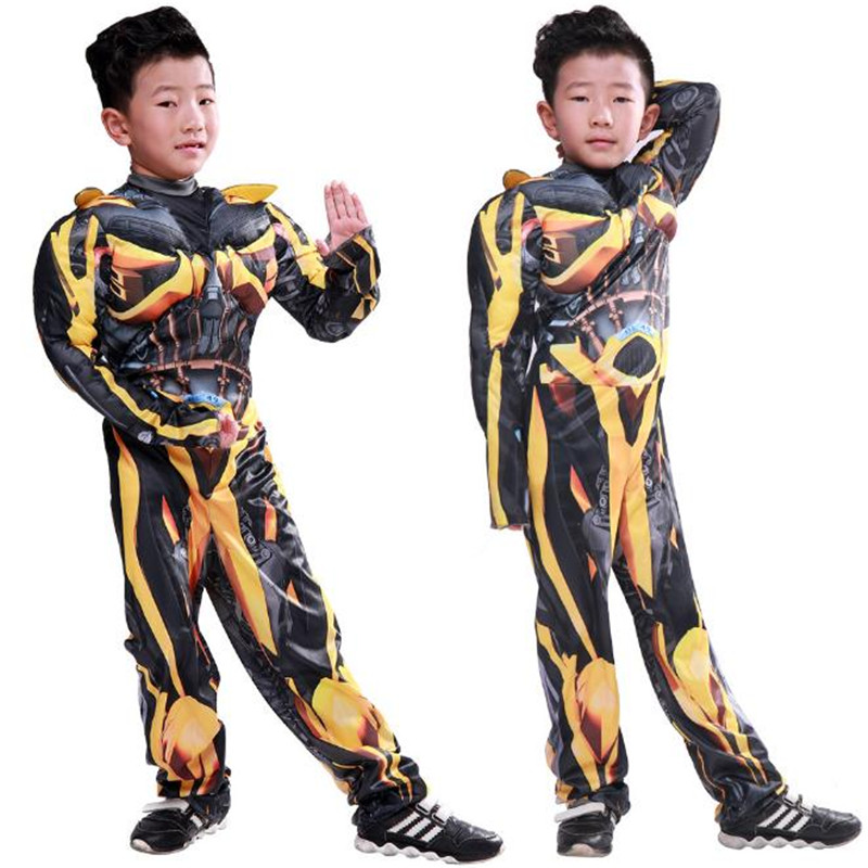 Children Transformers Bumblebee Cosplay Costume Hero Dress up  Muscle Perform Carnival Christmas Halloween Costume For Kids Boys