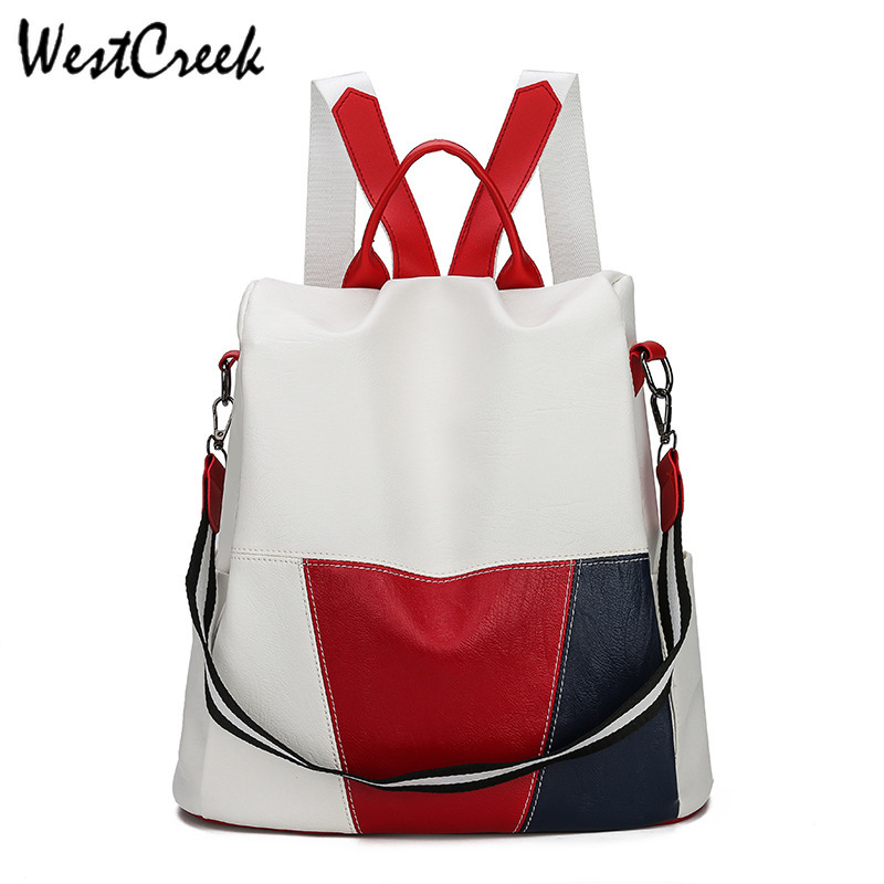 WESTCREEK Brand Anti Theft Women Backpack Purse Soft Leather Waterproof Multi-function Travel Back Pack Hit Color Casual Bag