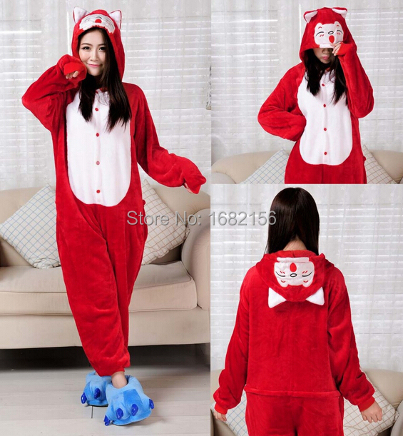 6e3e72df52 Kigurumi Anime Onesie Flannel Red Ali Fox Pajamas Cosplay Costume Adult  Animal Jumpsuit Sleepwear For Party Wear