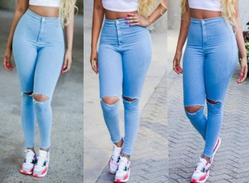 jeans woman high waist ripped jeans