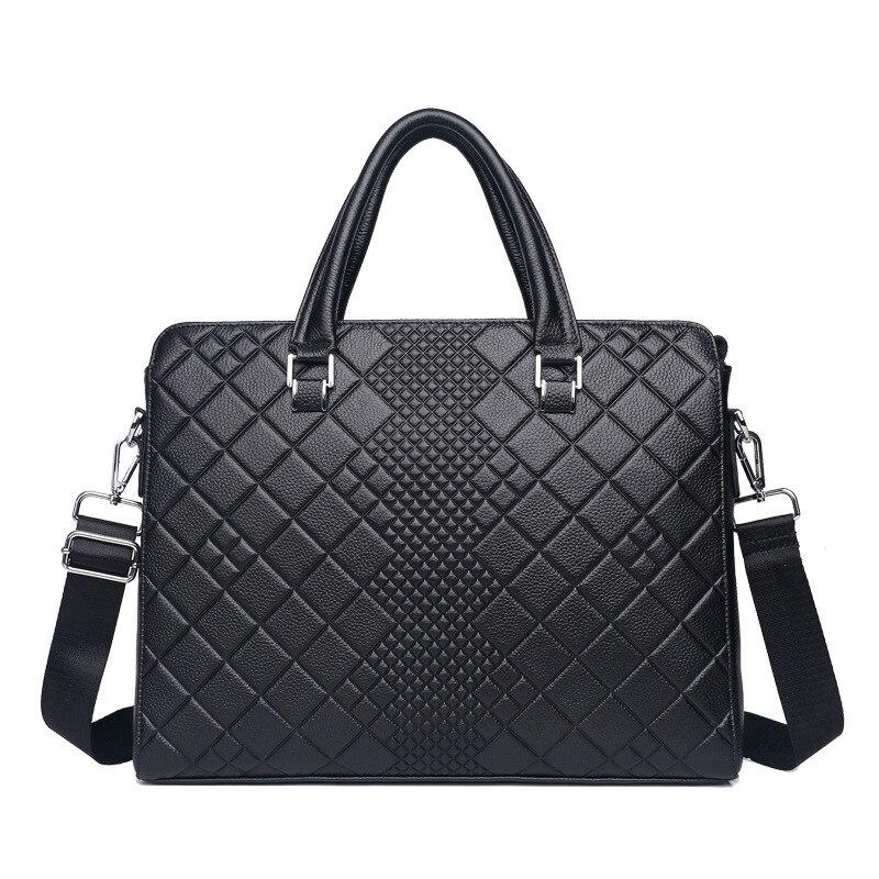 Men's Briefcase Tote Computer-Handbag Messenger-Bag Business Genuine-Leather Luxury Male