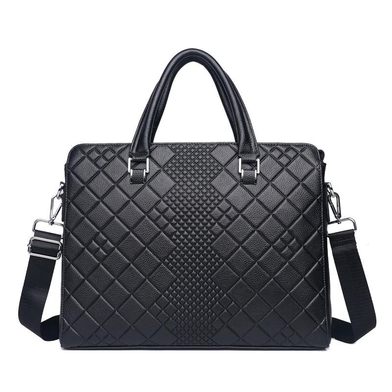 2018 New Luxury 100% Cow Genuine Leather Business Men's Briefcase Male Shoulder Bag Men's Messenger Bag Tote Computer Handbag