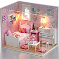 Handmade Doll House Furniture Diy Miniature Dust Cover 3D Wooden Miniaturas Dollhouse Toys for Christmas Gift H015