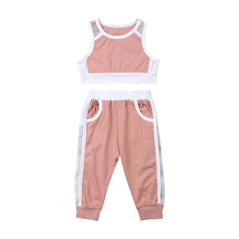 Toddler Infant Baby kids Girls Summer Vest Tank Crop Tops+Mesh Pants Sports Outfits Casual Tracksuit 2Pcs Set 1-6Y