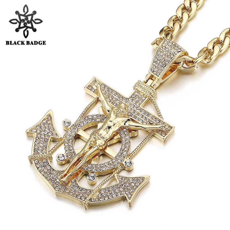 Men Hip Hop Jewelry Jesus Anchor Pendant Iced Out Bling Bling Crystal Nautical Necklace Long Chain Stainless Steel Jewelry box chain 60cm simulated diamonds 70mm big pendant jesus pendant christ the redeemer bling hip hop mens necklace